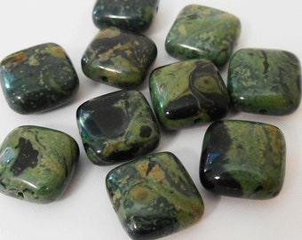 10 - Kambaba Jasper 12mm Puffed Square Stone Beads, Black and Green Natural Gemstone Beads, Monkeyshine Beads