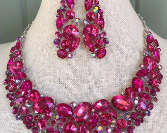 Fabulous Fuchsia Pink Rhinestone Statement Necklace and Dangle Earrings...Prom / Evening / Bridal / Wedding