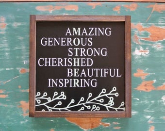 Beautiful Words About Mom Sign