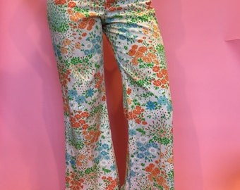 Incredible 70s Floral Print Ultra High Waisted Sailor Pant Cropped Flares sz 26