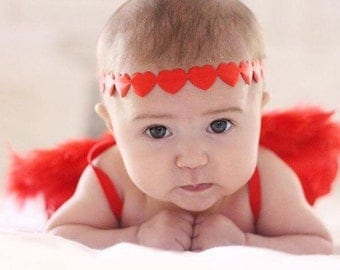 Pink or Red Heart Halo Headband Newborn / Baby / Girls / Adult