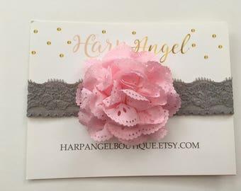 Pink Eyelet Flower Gray Lace Headband Newborn / Infant / Toddler / Girls Grey