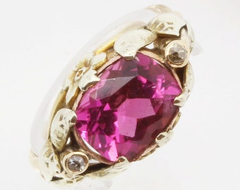Antique Arts & Crafts Ring Gold Botanic Setting Pink Tourmaline Diamond (#6123)