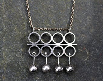 Mid Century Modernist N. M. Thune, Norway. Kinetic Geometric Silver Pendant Necklace