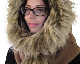 """Hooded cowl """"Yeti"""", faux fur cowl, scarf cowl,  winter neck warmer, funnel cowl neck, warm snood."""