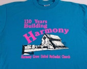 Harmony Grove United Methodist Church T-Shirt Adult L/XL Blue Neon Pink USA Made Hanes