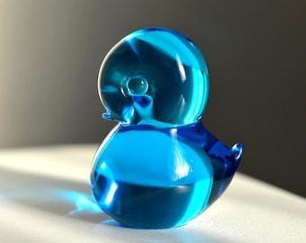 Vintage Mid Century Pippi Blue Art Glass Bird Paperweight Figurine Konstglas Sweden Glass