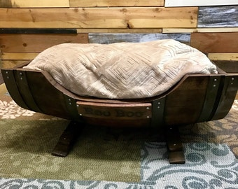 Large Wine Barrel Dog Bed with Plush Bedding