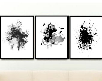 Wall Art Prints, Triptych, Abstract Art Prints, Set of 3 Prints, Printable Wall Art, Black and White Prints,  Instant Download, Wall Decor