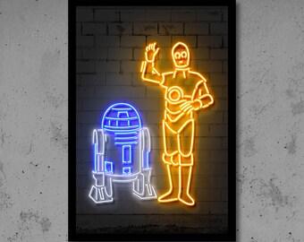 C3po R2d2 Wall Art Neon Art C3po R2d2 Neon Star Wars Art Kids Room Wall Art Star Wars Gift Home Décor Robots Nursery Neon Star Wars