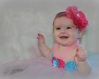 Pink Lace Peony Flower Headband