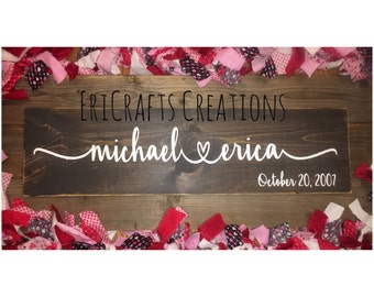 Personalized Wedding anniversary Valentine's Day LOVE couple wood handpainted sign