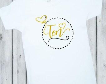 Birthday Girl Shirt, 10th Birthday Shirt, First Birthday Outfit, Gold, Black, White, Ten, Birthday Shirt, Girl Birthday shirt, Boy