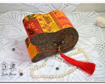 Exclusive wood box jewelry box orange box storage box keepsake box wedding box wooden jewelry box gift box for her trinket box birthday gift