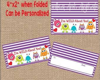 Monster Valentine Treat Bag Toppers * Set of 4 * Printable Instant Download * Kids Party Cards