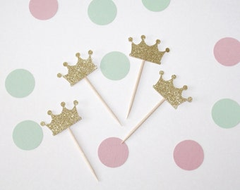 Crown Cupcake Toppers. Pink, Mint and Gold. Pink and Gold. Princess Party. Crown Party Decorations. Princess Party Decorations.