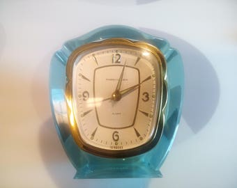 Vintage Phinney-Walker Alarm Clock In Aqua Blue Lucite Case by Semca Clock Co, Made in Germany
