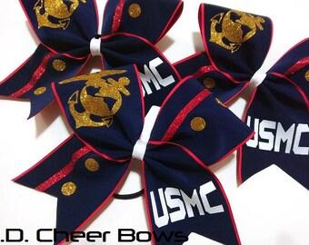 USMC Dress Blues Cheer Bow, US Marine Corps Cheer Bow
