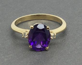 14K Yellow Gold Natural Amethyst and Diamond Ring