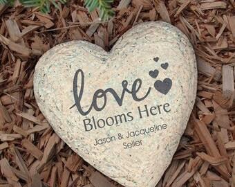 Personalized Garden Stone Love Blooms Here Decorative Garden Stone