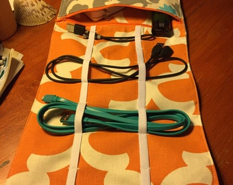 Travel Electronics Cord Organizer - with Built In Zippered Pouch - in Orange and Gray