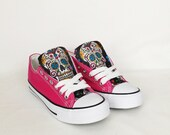 Day of the dead shoes, custom sugar skull shoes, candy skull pumps, skull shoes, custom plimsolls, women trainers, customized shoe, sneakers