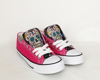 Day of the dead shoes, custom sugar skull shoes, candy skull pumps, skull shoes, custom plimsolls, women trainers. goth punk boho rockabilly