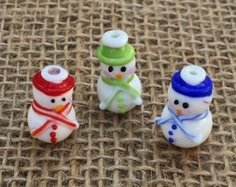 1   Country Christmas Snowman Lampwork Glass Bead   Christmas Bracelet   Snowman Earrings   14x21mm