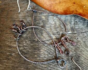 Copper Hoop Earrings, Pear Shaped Earrings, Copper Hoops, Stamped Jewelry, Large Hoop Earrings, Hoop Earrings
