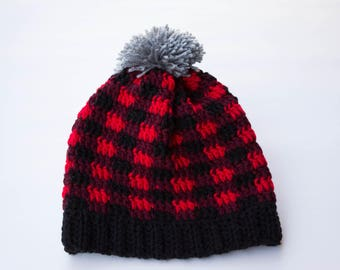 Red Plaid Crochet Toque, Adult Size