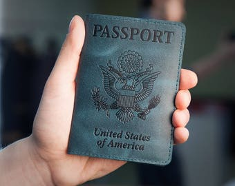 Dark Green Leather Passport Holder - Passport Cover - Passport Case