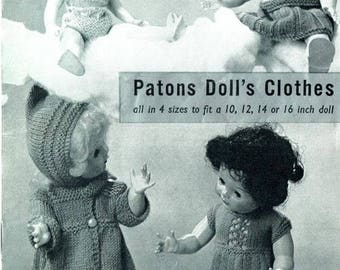 Patons 585 Doll Clothes Knit Patterns Ginny Tiny Tears Rosebud instant download knitting pattern
