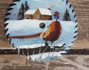 7in Hand painted saw blade featuring pheasants