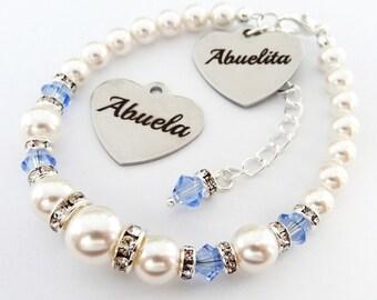 Abuela or Abuelita - Swarovski white pearl and birthstone crystals,Abuela bracelet,Abuela pulsera,Abuelita pulsera,Abuelita gift,Abuela gift