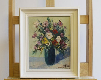 Small flower still life in wooden vintage list. Original oil paintings on canvas. M. Ottee