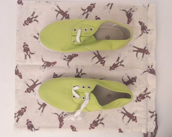 "Sock Monkeys! Handmade Shoe Bag or Travel Bag in a Fun Sock Monkey Cotton Flannel, Fully Lined, Separate Slot for Each Shoe, Outside 15x16"""