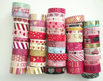 "Washi Tape 18""-24"" sample, Valentine's washi tape, hearts, love, dating, friendship, friends, red and pink, gold foil washi tape"
