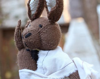 Bunny Knit Wool Doll with Baby, Brown