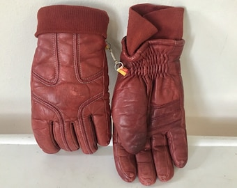 Retro Maroon Leather Winter Gloves - Kombi Size Medium Insulated Gloves - 70's Ski Gloves - ACC-08