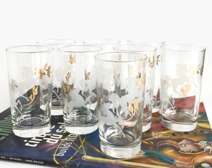 Mid Century Libbey Prancing Colts Glasses