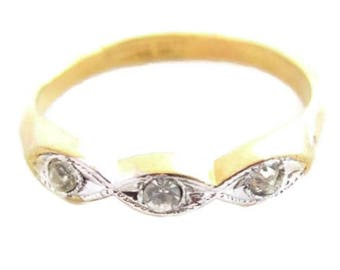 Vintage Yellow Gold Plated White Gold Accent 3 Stone Band Rhinestone Ring*s838
