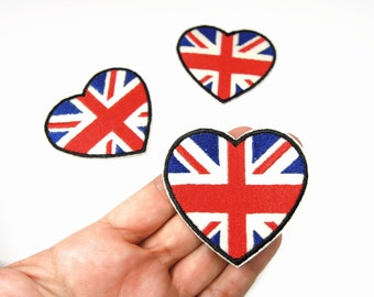 Union Jack Heart Iron On Patch - UK Flag applique - British flag iron on flag -  Heart Union Jack - UK Flag transfer patch
