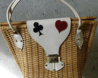 Basket Weave Purse Bag Leather Handle Brass Fittings Spade Heart Straw 1960s Vintage Stylish