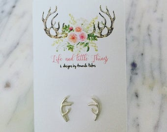 Silver Antler Earrings