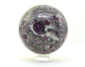 SALE Ruby in rhyolite sphere, natural corrundum and rhyolite crystal ball 48 mm
