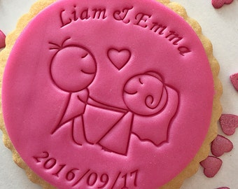 Groom and bride - Fondant stamp - Cookie stamp