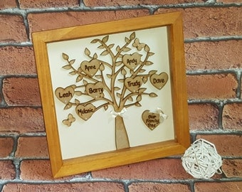 Family Tree Personalised Wooden Box Frame, Solid Wood Family Tree Frame, Wooden Family Tree, for mom, gift for mum, mothers day