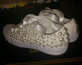 Custom Personalized Bridal Wedding Converse low tops! Pearls or Crystals,satin ribbon! 10% discount for all of my fall brides! Price listed.