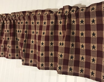 Primitive Country wine and tan checked valance with navy stars