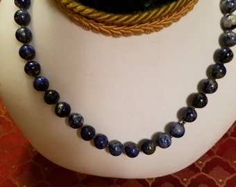 Denim Blue Lapis Stone Bead Single Strand Necklace With White Metal Snap Jewelry Clasp or Closure Marked Workmanship